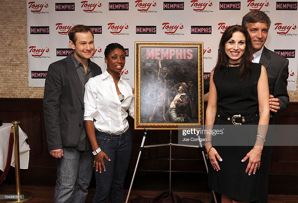 Actors Chad Kimball, Montego Glover and Tony's di Napoli General manager Bruce Dimpflmaier and event producer Valerie Smaldone attend the 'Memphis' cast portrait unveiling at Tony's di Napoli on September 23, 2010 in New York City.