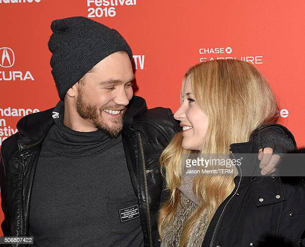 Actors Chad Michael Murray and Sarah Roemer attend the Outlaws Angels Premiere during the 2016 Sundance Film Festival at Library Center Theater on...