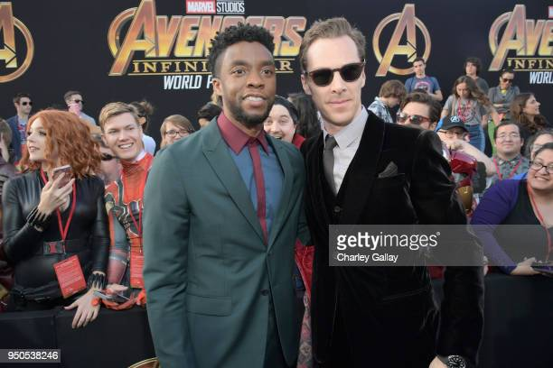 Actors Chadwick Boseman and Benedict Cumberbatch attend the Los Angeles Global Premiere for Marvel Studios' Avengers: Infinity War on April 23, 2018...