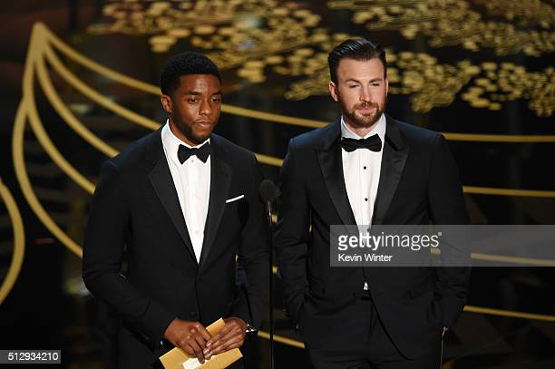 Actors Chadwick Boseman and Chris Evans speak onstage during the 88th Annual Academy Awards at the Dolby Theatre on February 28, 2016 in Hollywood,...