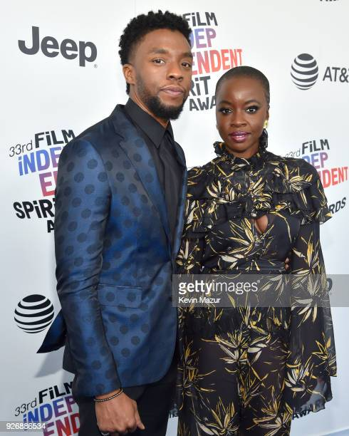 Actors Chadwick Boseman and Danai Gurira attend the 2018 Film Independent Spirit Awards on March 3 2018 in Santa Monica California