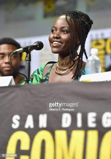 Actors Chadwick Boseman and Lupita Nyong'o from Marvel Studios' 'Black Panther' at the San Diego ComicCon International 2017 Marvel Studios Panel in...