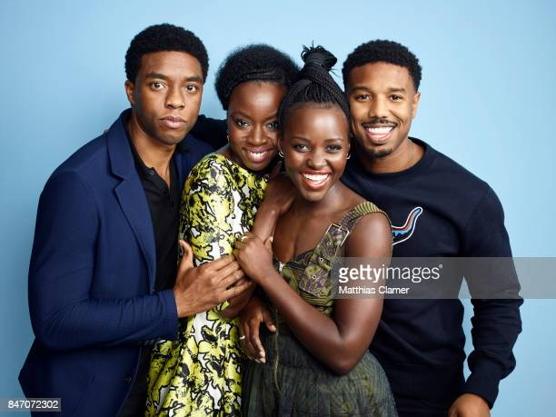 Actors Chadwick Boseman Danai Gurira Lupita Nyong'o and Michael B Jordan from 'Black Panther' are photographed for Entertainment Weekly Magazine on...
