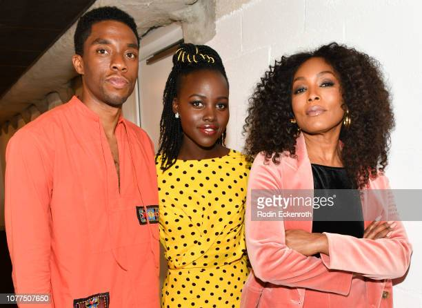 "Actors Chadwick Boseman, Lupita Nyong'o, and Angela Bassett pose for portrait at MoMA Contenders 2018 Screening and Q&A of ""Black Panther"" at Hammer..."