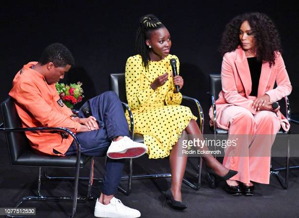 Actors Chadwick Boseman Lupita Nyong'o and Angela Bassett speak onstage at MoMA Contenders 2018 Screening and QA of Black Panther at Hammer Museum on...