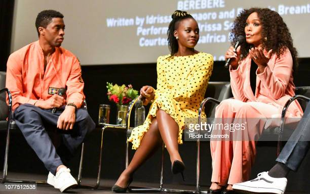 "Actors Chadwick Boseman, Lupita Nyong'o, and Angela Bassett speak onstage at MoMA Contenders 2018 Screening and Q&A of ""Black Panther"" at Hammer..."
