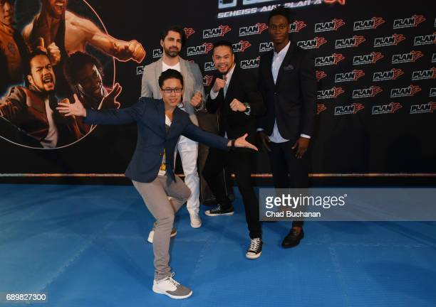 Actors ChaLee Yoon Can Aydin Phong Giang and Eugene Boateng seen at Cubix Alexanderplatz on May 29 2017 in Berlin Germany