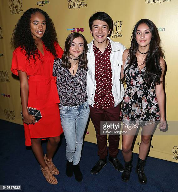Actors Chandler Kinney Ashley Boettcher Sloane Morgan Siegel and Coco Grayson attend a celebration of Amazon's 'Gortimer Gibbon's Life on Normal...