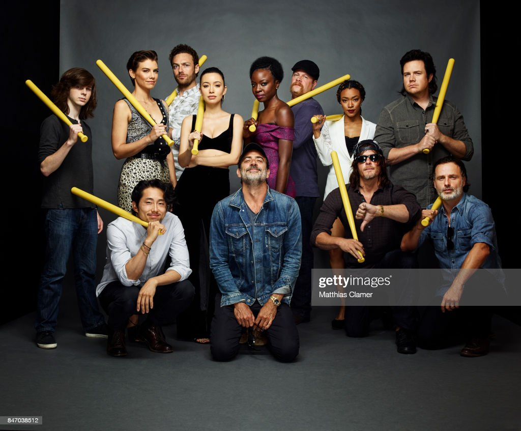 Actors Chandler Riggs, Lauren Cohan, Ross Marquand, Christian Serratos, Danai Gurira, Michael Cudlitz, Sonequa Martin-Green, Josh McDermitt, Steven Yeun, Jeffrey Dean Morgan, Norman Reedus and Andrew Lincoln from 'The Walking Dead' are photographed for Entertainment Weekly Magazine on July 23, 2016 at Comic Con in the Hard Rock Hotel in San Diego, California.