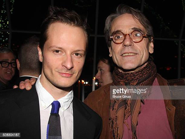 Actors Chandler Williams and Jeremy Irons attend the after party for opening night of the Broadway production of Mary Stuart at Tavern on the Green...