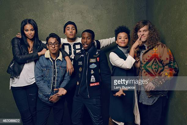 Actors Chanel Iman Tony Revolori Quincy Brown Shameik Moore Kiersey Clemons and Blake Anderson from Dope pose for a portrait at the Village at the...