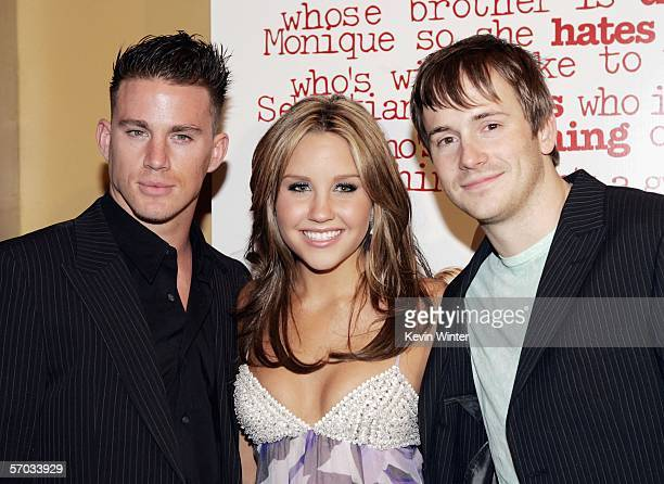 Actors Channing Tatum Amanda Bynes and Robert Hoffman pose at the premiere of DreamWork's She's the Man at the Village Theater on March 8 2006 in Los...