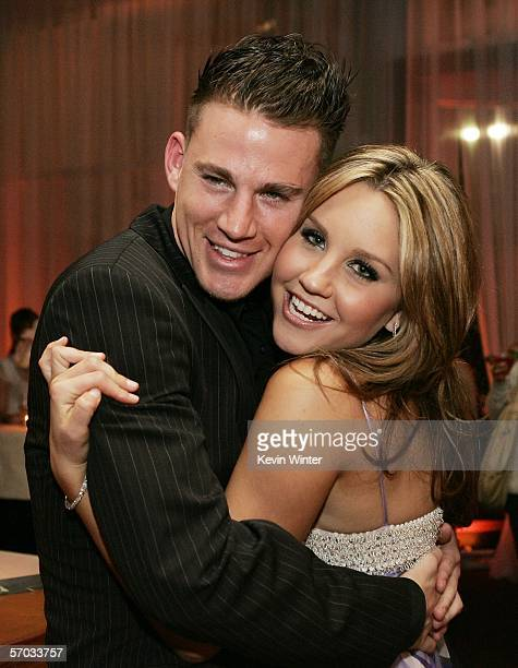 Actors Channing Tatum and Amanda Bynes pose at the afterparty for the premiere of DreamWork's She's the Man at Napa Valley Grille on March 8 2006 in...