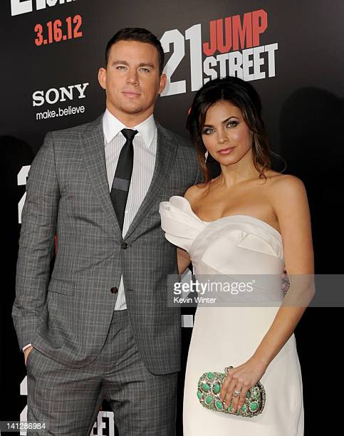 Actors Channing Tatum and his wife Jenna Dewan arrive at the premiere of Columbia Pictures' '21 Jump Street' at the Grauman's Chinese Theater on...