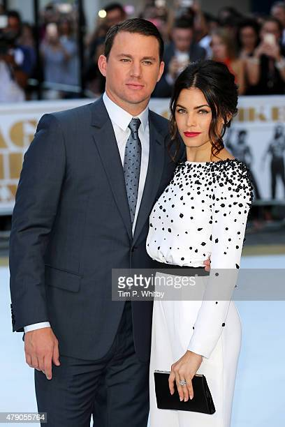 Actors Channing Tatum and his wife Jenna DewanTatum attend the European Premiere of Magic Mike XXL at Vue West End on June 30 2015 in London England