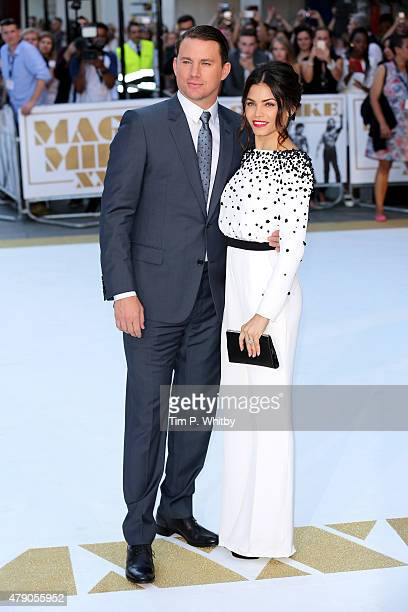 Actors Channing Tatum and his wife Jenna DewanTatum attend the European Premiere of 'Magic Mike XXL' at Vue West End on June 30 2015 in London England
