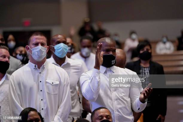 Actors Channing Tatum and Jamie Foxx attend the funeral service for George Floyd in the chapel at the Fountain of Praise church June 9, 2020 in...