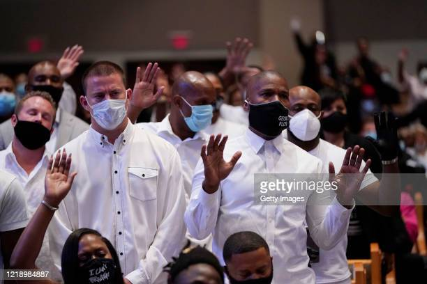 Actors Channing Tatum and Jamie Foxx attend the funeral service for George Floyd in the chapel at the Fountain of Praise church June 9 2020 in...