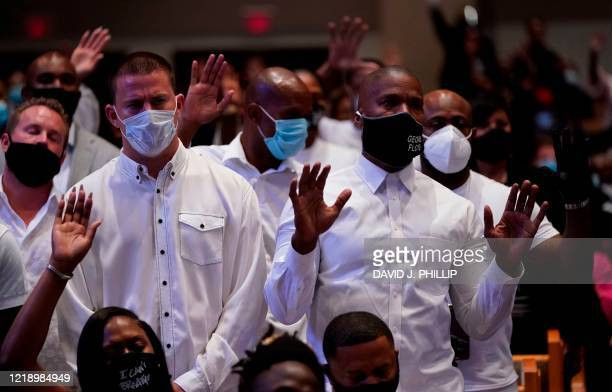 Actors Channing Tatum and Jamie Foxx take part in the funeral of George Floyd on June 9 at The Fountain of Praise church in Houston Texas George...