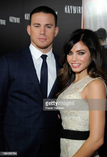 Actors Channing Tatum and Jenna Dewan arrive at Relativity Media's premiere of Haywire cohosted by Playboy held at DGA Theater on January 5 2012 in...