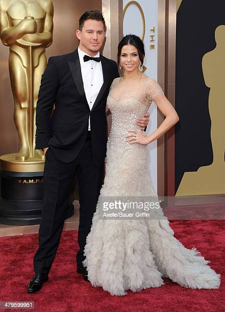 Actors Channing Tatum and Jenna Dewan arrive at the 86th Annual Academy Awards at Hollywood Highland Center on March 2 2014 in Hollywood California