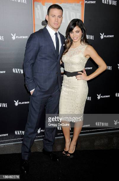 """Actors Channing Tatum and Jenna Dewan arrive at the """"Haywire"""" Los Angeles Premiere at Directors Guild Of America on January 5, 2012 in Los Angeles,..."""