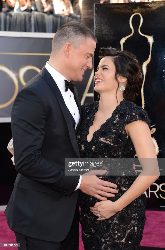 Actors Channing Tatum (L) and Jenna Dewan arrive at the Oscars at Hollywood & Highland Center on February 24, 2013 in Hollywood, California.