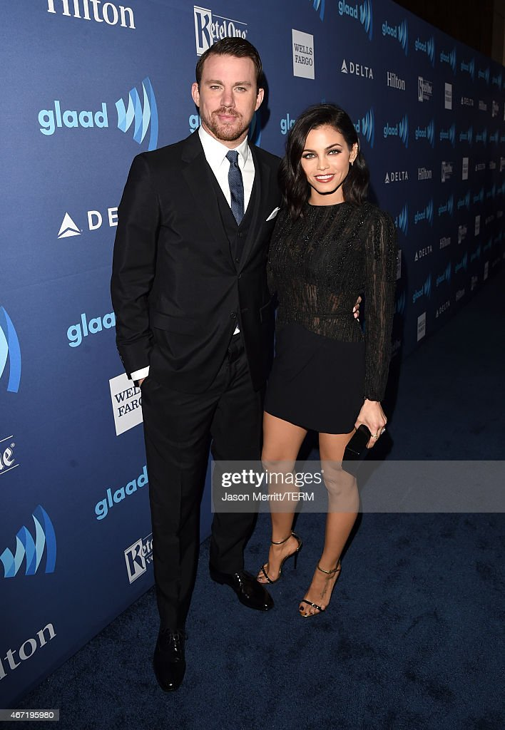 Actors Channing Tatum (L) and Jenna Dewan attend the 26th Annual GLAAD Media Awards at The Beverly Hilton Hotel on March 21, 2015 in Beverly Hills, California.