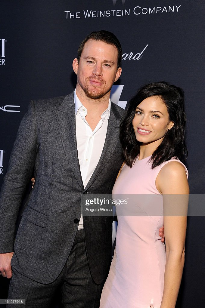 Actors Channing Tatum (L) and Jenna Dewan attend The Weinstein Company's Academy Awards Nominees Dinner in partnership with Chopard, DeLeon Tequila, FIJI Water and MAC Cosmetics on February 21, 2015 in Los Angeles, California.