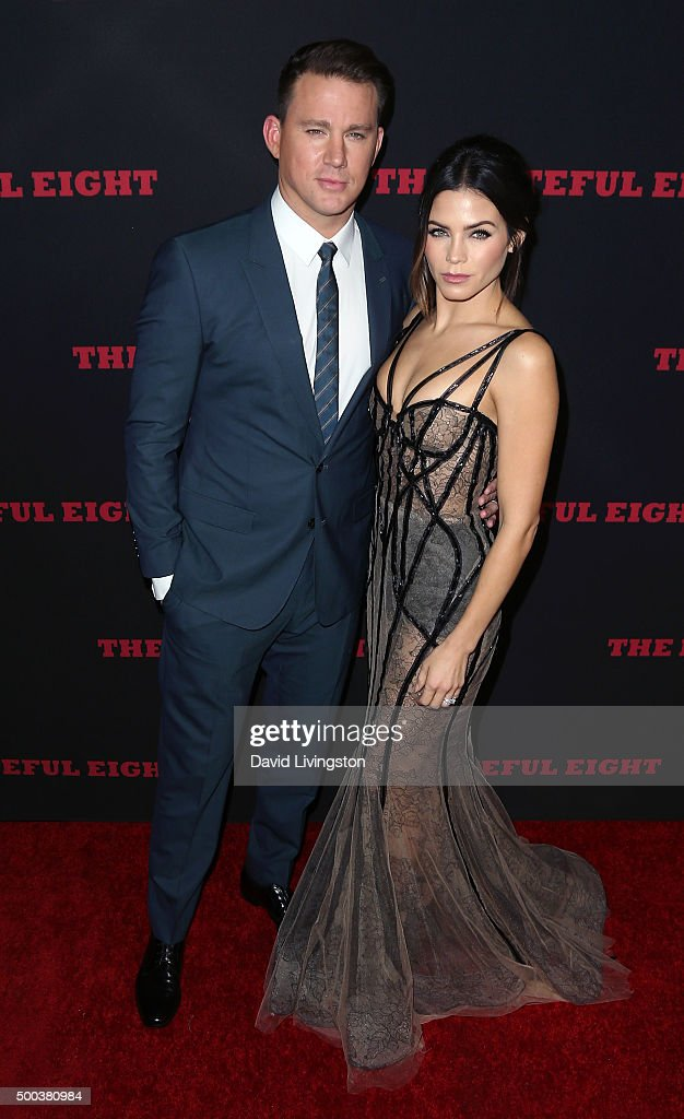 Actors Channing Tatum (L) and Jenna Dewan Tatum attend the premiere of The Weinstein Company's 'The Hateful Eight' at ArcLight Cinemas Cinerama Dome on December 7, 2015 in Hollywood, California.