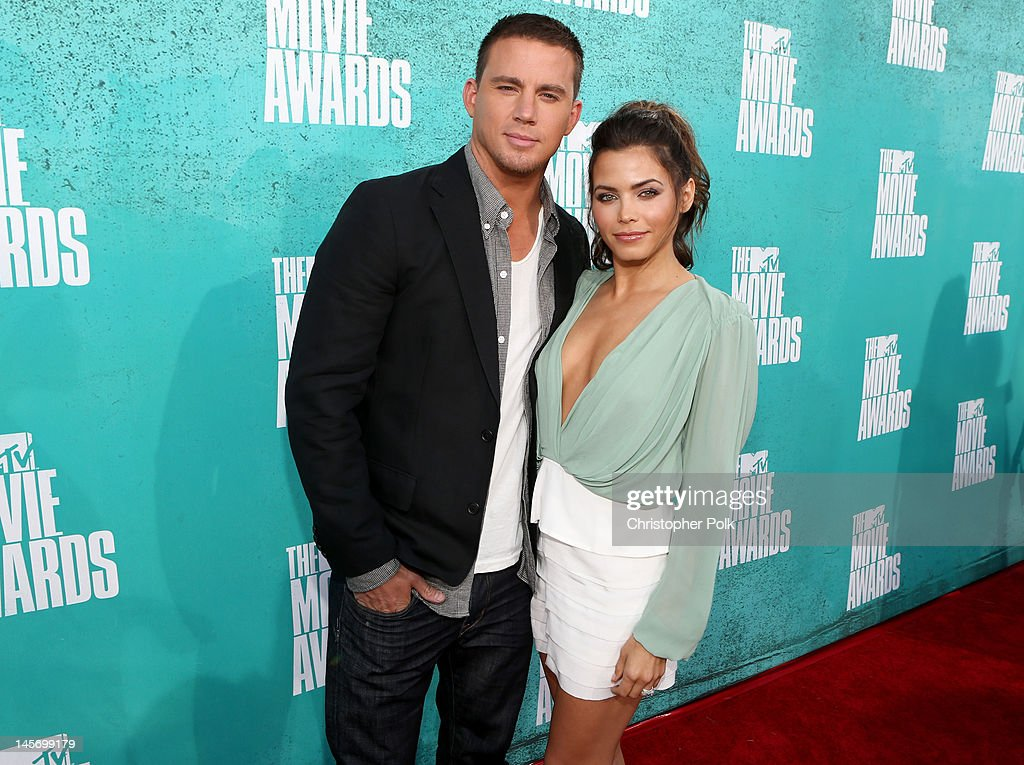 Actors Channing Tatum and Jenna Dewan-Tatum arrive at the 2012 MTV Movie Awards held at Gibson Amphitheatre on June 3, 2012 in Universal City, California.