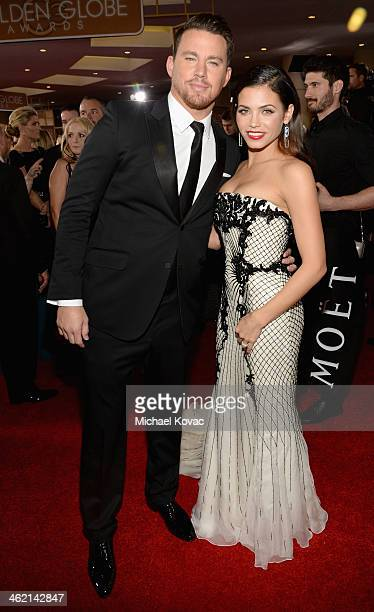 Actors Channing Tatum and Jenna DewanTatum attend the 71st Annual Golden Globe Awards with Moet Chandon held at the Beverly Hilton Hotel on January...