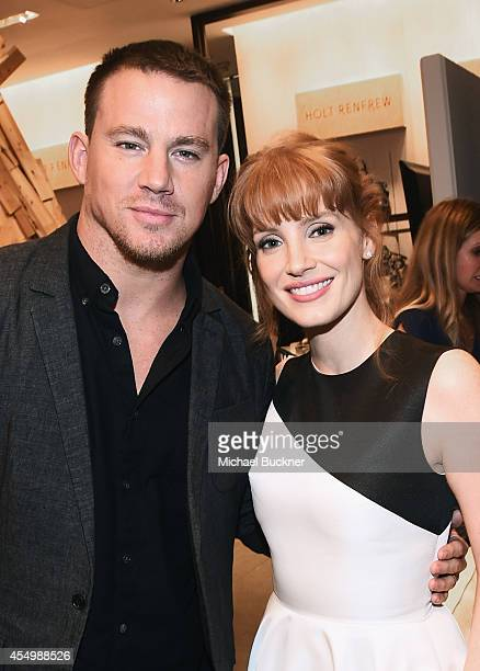 Actors Channing Tatum and Jessica Chastain attend the Variety Studio presented by Moroccanoil at Holt Renfrew during the 2014 Toronto International...