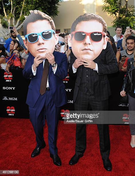 Actors Channing Tatum and Jonah Hill arrive at the Los Angeles Premiere '22 Jump Street' at Regency Village Theatre on June 10 2014 in Westwood...