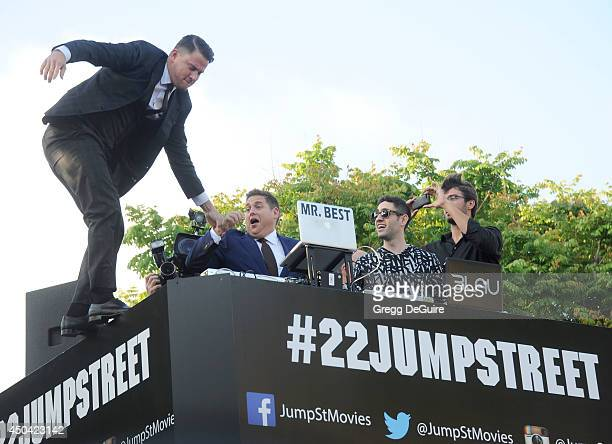 Actors Channing Tatum and Jonah Hill arrive at the Los Angeles premiere of 22 Jump Street at Regency Village Theatre on June 10 2014 in Westwood...