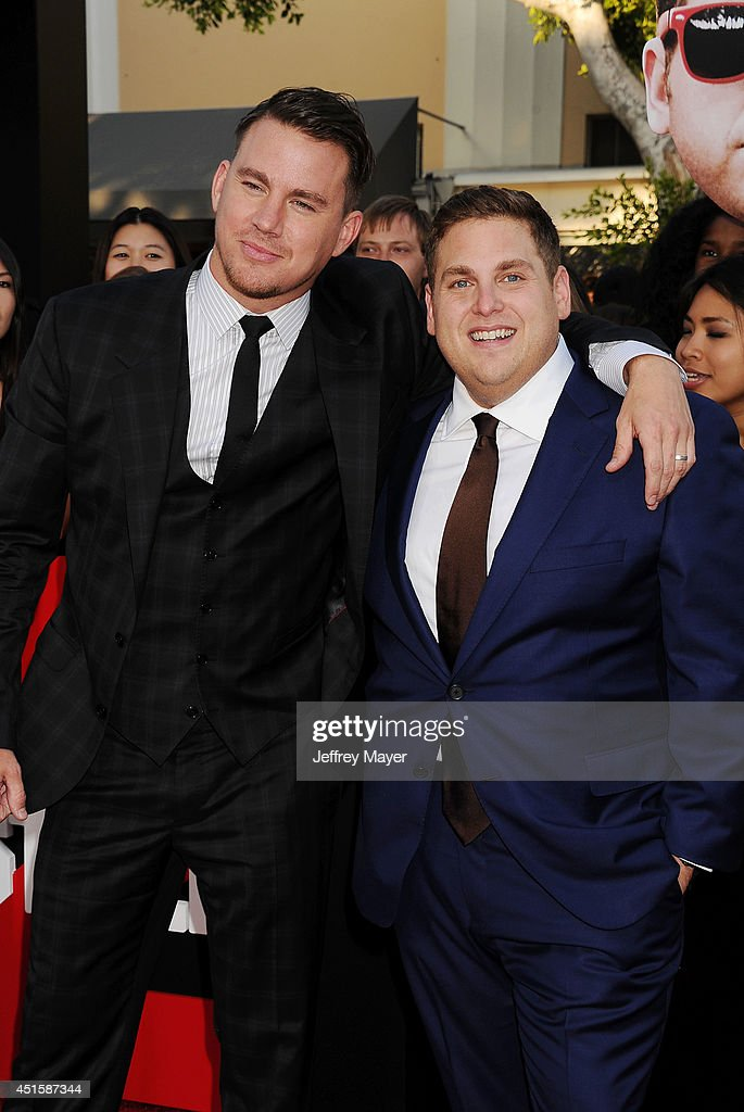 Actors Channing Tatum (L) and Jonah Hill arrive at the Los Angeles premiere of '22 Jump Street' at Regency Village Theatre on June 10, 2014 in Westwood, California.