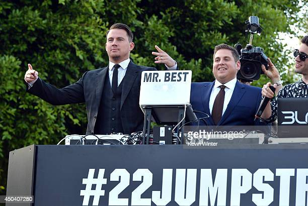 Actors Channing Tatum and Jonah Hill attend the Premiere Of Columbia Pictures' 22 Jump Street at Regency Village Theatre on June 10 2014 in Westwood...