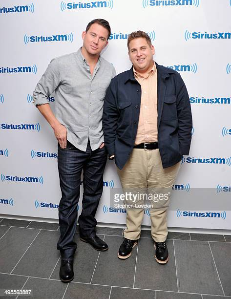 Actors Channing Tatum and Jonah Hill attend The SiriusXM Town Hall to discuss '22 Jump Street' at SIRIUS XM Studio on June 4 2014 in New York City