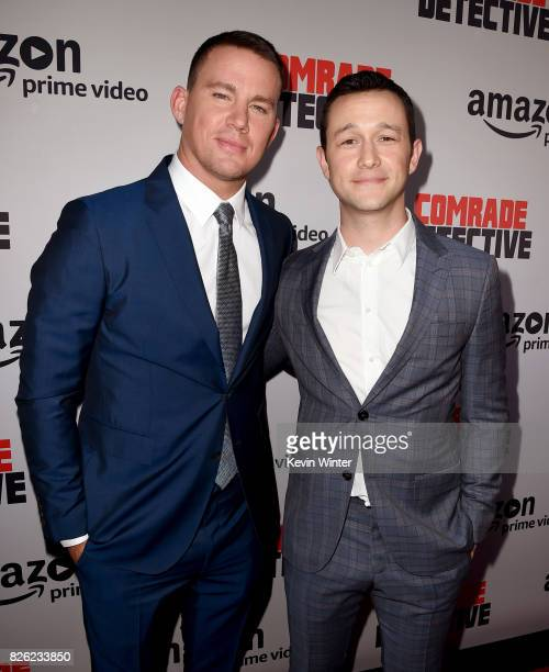"""Actors Channing Tatum and Joseph Gordon-Levitt arrive at the premiere of Amazon's """"Comrade Detective"""" at the Arclight Theatre on August 3, 2017 in..."""