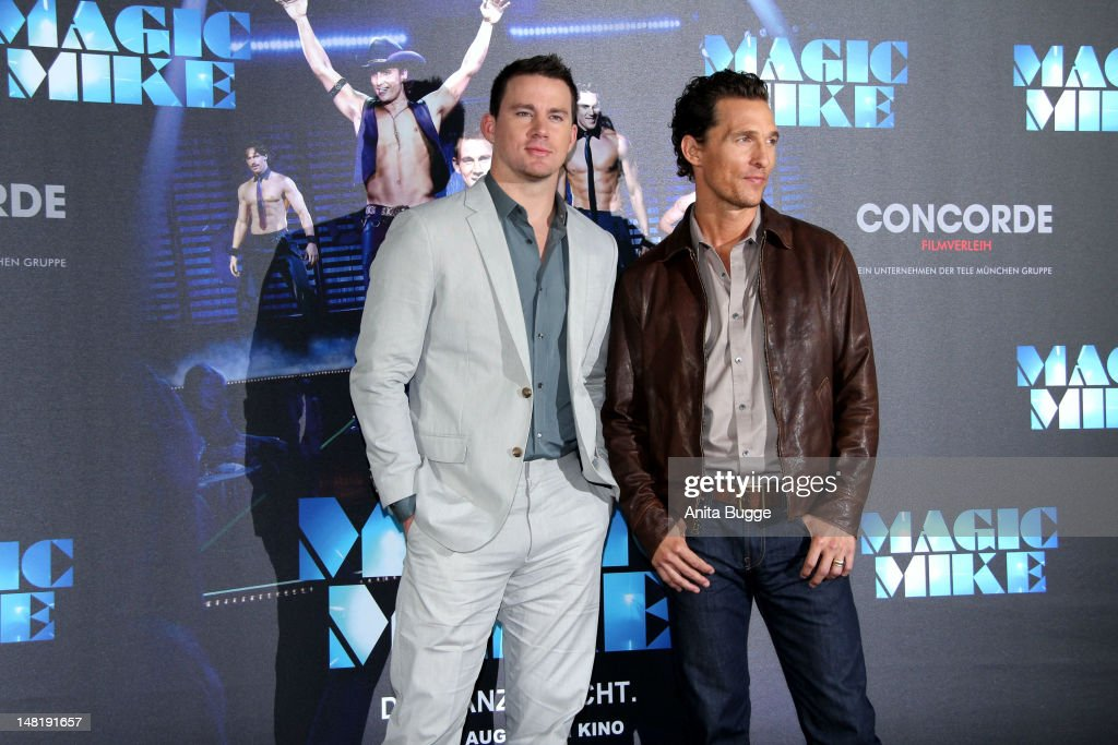Actors Channing Tatum and Matthew McConaughey attend the 'Magic Mike' photocall at Hotel De Rome on July 12, 2012 in Berlin, Germany.