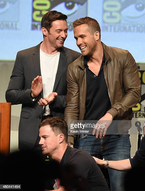 Actors Channing Tatum Hugh Jackman and Ryan Reynolds appear onstage at the 20th Century FOX panel during ComicCon International 2015 at the San Diego...