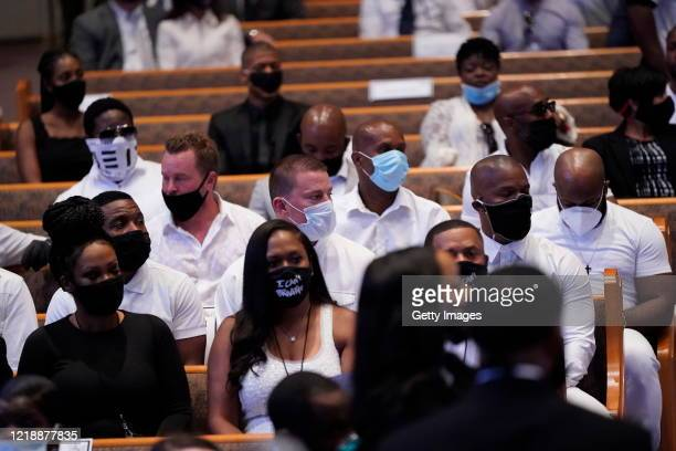 Actors Channing Tatum Jamie Foxx attend the funeral service of George Floyd in the chapel at the Fountain of Praise church June 9, 2020 in Houston,...