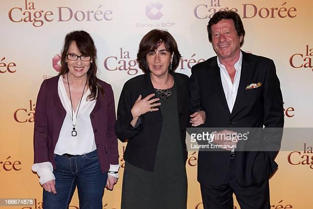 Actors Chantal Lauby Rita Blanco and Joaquim de Almeida pose during the premiere of the movie La Cage Doree at Cinema Gaumont Marignan on April 15...