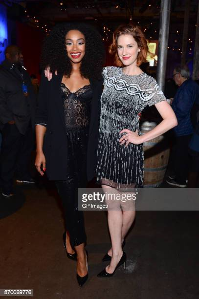 Actors Chantel Riley and Lauren Lee Smith attend the CBC launch of Frankie Drake Mysteries at the Fermenting Cellar on November 3 2017 in Toronto...