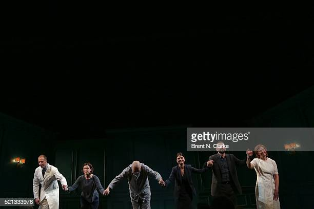Actors Charles Borland Hannah Cabell Frank Langella Kathryn Erbe Brian Avers and Kathleen McNenny participate in the curtain call following the...