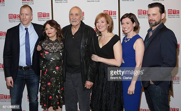 Actors Charles Borland Kathryn Erbe Frank Langella Kathleen McNenny Hannah Cabell and Brian Avers attend the cast party following the opening night...