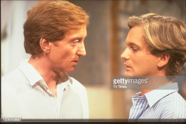 Actors Charles Dance and Simon Shepherd in character as James Latimer and Lawrence Penwarden in the Time For Murder episode 'This Lightning Always...
