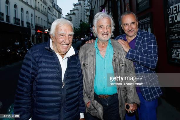Actors Charles Gerard JeanPaul Belmondo and Antoine Dulery attend the 'La tete dans les etoiles' Theater play at Theatre de la Gaite Montparnasse on...