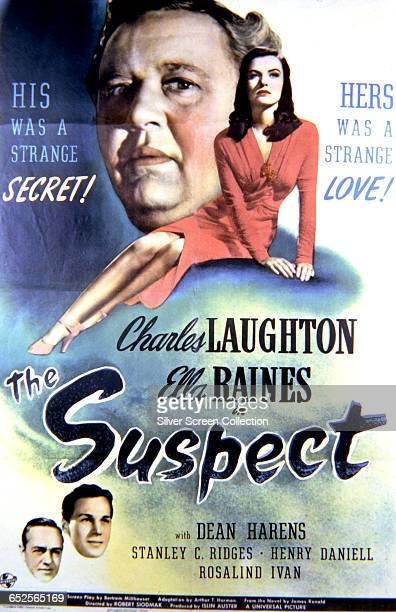 Actors Charles Laughton and Ella Raines appear on a poster for the Universal Pictures film noir 'The Suspect' directed by Robert Siodmak 1944