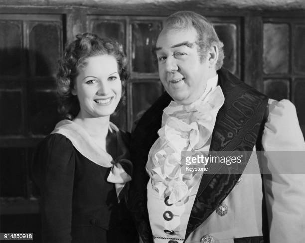 Actors Charles Laughton and Maureen O'Hara in costume for the Alfred Hitchcock film 'Jamaica Inn' beginning production at Elstree Studios London 12th...